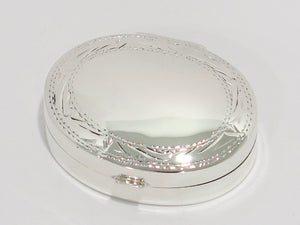1 3/8 in - Sterling Silver Engraved Edge Oval Pill Case/Box