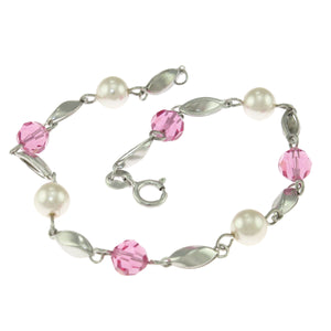 7.5 in - Sterling Silver Round White Simulated Pearl Red Crystal Link Bracelet
