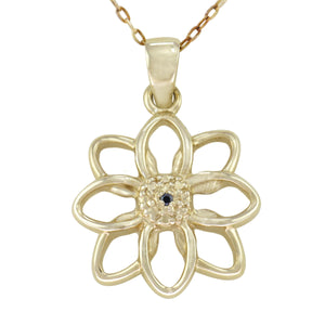18 in - 24K gold over Sterling Silver Round Black Diamond Flower Necklace