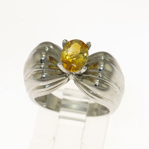 Genuine Citrine 925 Sterling Silver Bow Ring