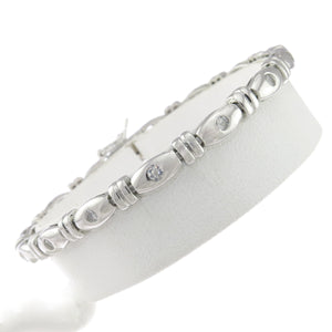 7 in - 925 Sterling Silver Barrel with Round Clear Cubic Zirconia CZ Bracelet