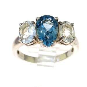 Blue and Clear Topaz 925 Sterling Silver Three Stone Ring