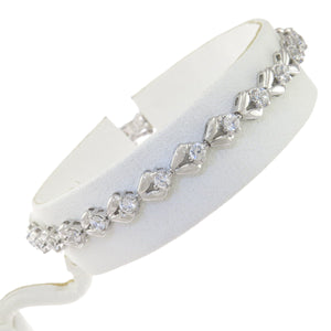 7 in - 925 Sterling Silver Floral Round Clear Cubic Zirconia CZ Bracelet
