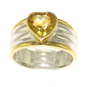 Two Tone 925 Sterling Silver Citrine Gemstone Heart Wide Ring