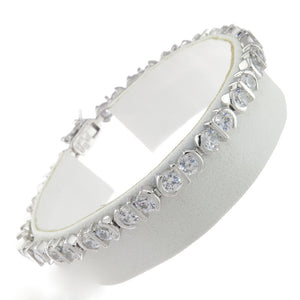 7.5 in - 925 Sterling Silver Bar Setting Round Clear Cubic Zirconia CZ Bracelet