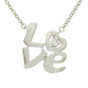 16-18 in - Sterling Silver Round Clear CZ High Polished Heart 'Love' Necklace