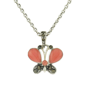 16-18 in - Sterling Silver Pink Enamel Marcasite Butterfly Station Necklace