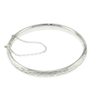 2.25 in - 925 Sterling Silver Rhombus Faceted Bangle Bracelet