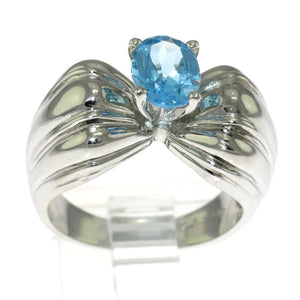 Genuine Blue Topaz 925 Sterling Silver Bow Ring