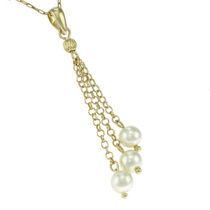 18 in - 24K gold over Sterling Silver Round White Chain Drop Beads Necklace