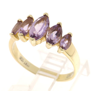 Gold Over 925 Sterling Silver Marquise Genuine Amethyst 5-Stone Ring
