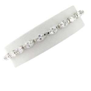 7.5 in - 925 Sterling Silver Tension Set Barrel Clear CZ Tennis Bracelet