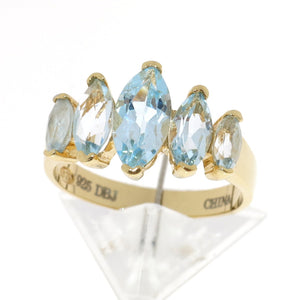 Gold Over 925 Sterling Silver Marquise Genuine Blue Topaz 5-Stone Ring
