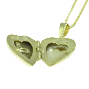 18 in - Gold over Sterling Silver Heart Locket Cross Laser Cut Design Necklace