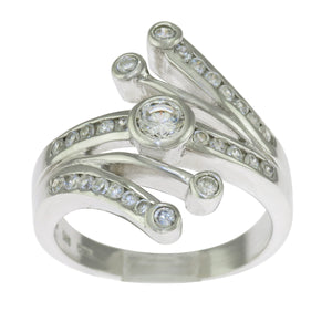 925 Sterling Silver Round Clear Cubic Zirconia Bypass Ring