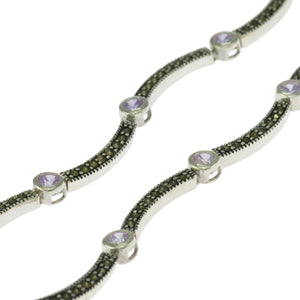 17 in - Sterling Silver Round Lavender CZ Marcasite Wave Link Necklace