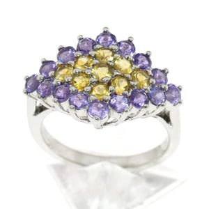 Genuine Amethyst and Citrine Cluster 925 Sterling Silver Ring