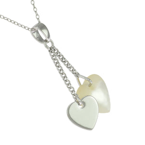 18 in - Sterling Silver White Mother of Pearl Hearts Dangle Drop Charms Necklace