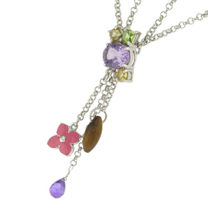 15.75-19 in - Sterling Silver Multi-Color CZ Charms with Tiger's Eye Necklace
