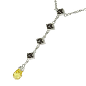 18 in - Sterling Silver Pear Yellow CZ Black Enamel Dangle Drop Charms Necklace