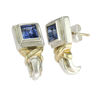 11/16 in - 14k Accent 925 Sterling Silver Square Blue Spinel Earrings