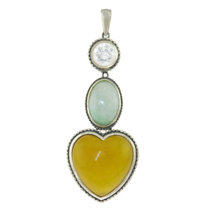 925 Sterling Silver Round Multi-Color Jade Clear CZ Heart Triple Drop Pendant