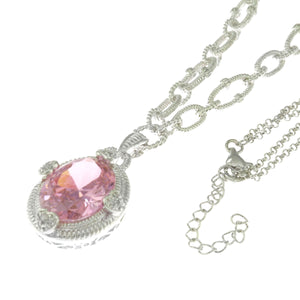 16-18 in - Sterling Silver Heart Prong Two Strand Fancy Pink CZ Pendant Necklace