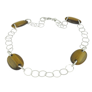 16 in - 925 Sterling Silver Tocara Oval Brown Tiger's Eye Chain Necklace