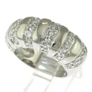 925 Sterling Silver Dome Cubic Zirconia Band Ring