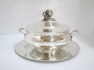 11 in Sterling Silver Antique Portuguese Hammered Hot Food Serving Pot w/ Plate