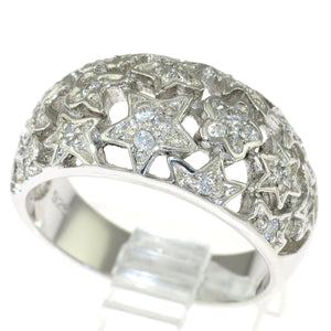 925 Sterling Silver Flowers and Stars Cubic Zirconia Ring