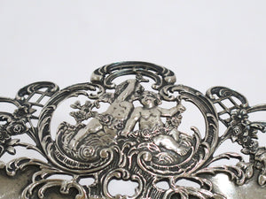 "13"" Sterling Silver Shreve & Co. Antique Cupid Floral Scroll Footed Serving Bowl"