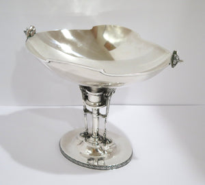 12.75 in - Coin Silver Gorham Antique c. 1860 Greek Revival Oval Compote