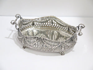 11 in - European Silver Antique German Garland Openwork Footed Basket w/ Handles