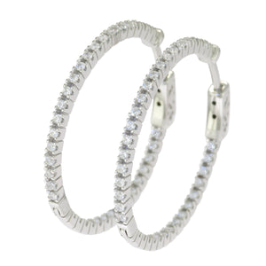 1 1/8 in - Sterling Silver Round Clear Cubic Zirconia Hoop Micro Pave Earrings