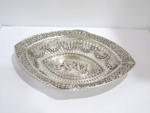 15.5 in - Sterling Silver Antique Biblical Scene Center Ornate Oval Serving Bowl