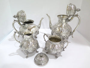 4 piece - European Silver Antique German Cupids Wreath Ribbon Tea/Coffee Set