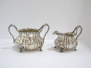 "2 piece - Sterling Silver Antique English ""Twig"" Handle Sugar Bowl & Creamer Set"
