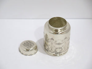 4.25 in - Sterling Silver Whiting Antique Floral Round Tea Caddy