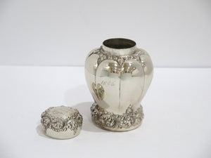 4 3/8 in - Sterling Silver Antique c. 1896 Flower Shaped Tea Caddy