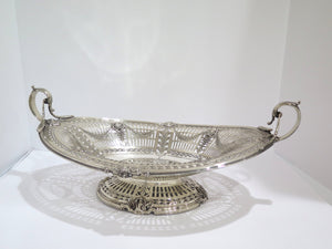 "19"" Sterling Silver Spaulding Chicago Antique Garland Decorated Footed Oval Bowl"