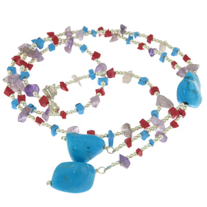 22 in - 925 Sterling Silver Nugget Blue Howlite Double Drop Necklace