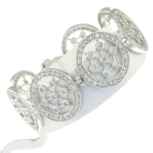 7 in - Sterling Silver Round Clear CZ Open Work Spider Web Disk Link Bracelet