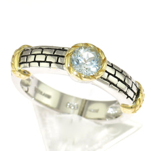 Two Tone 925 Sterling Silver Brick Pattern Blue Cubic Zirconia Ring