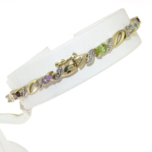 7.5 in - Multi Gemstone Gold Over 925 Sterling Silver Bracelet