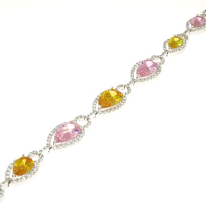 7 in - Yellow and Pink CZ Pear Shaped Link 925 Sterling Silver Bracelet