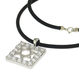 16 in - 925 Sterling Silver Round Clear CZ Star of David Rubber Cord Necklace