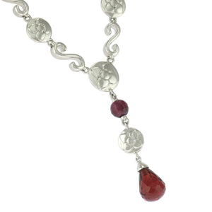 18 in - 925 Sterling Silver Pear Red Garnet Drop Necklace