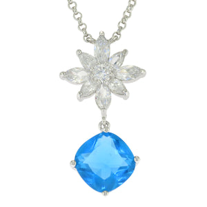 16-18 in - 925 Sterling Silver Cushion Cut Blue CZ Clear CZ Flower Necklace