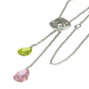 17.5 in - 925 Sterling Silver Pear Pink CZ Lime Green CZ Dangle Drop Necklace